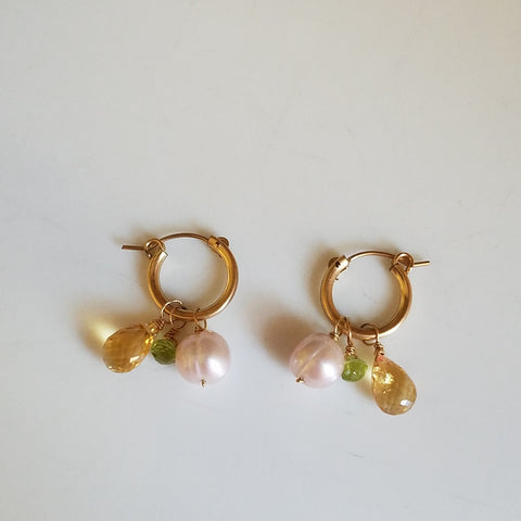 Citrine, Peridot and Pearl hoop earrings