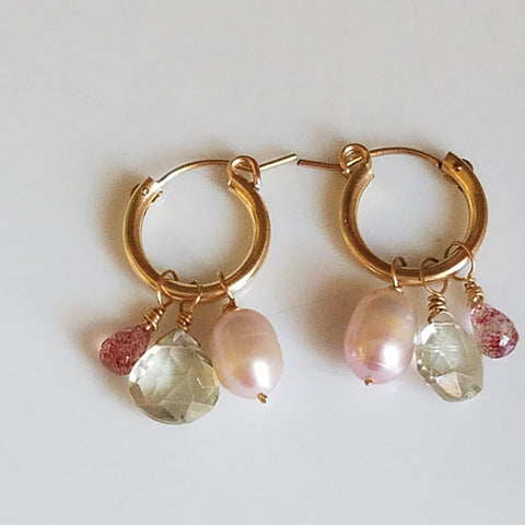 Pastel tones hoop earrings