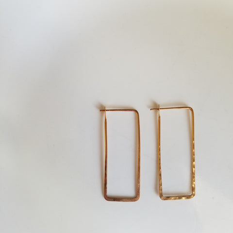 Large rectangular hoop earrings
