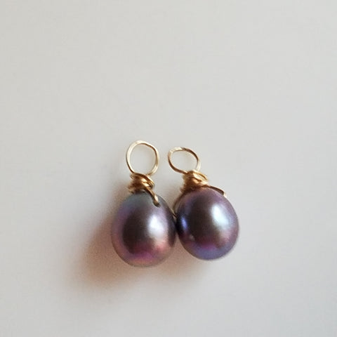 Blue pearls charms for hoop earrings