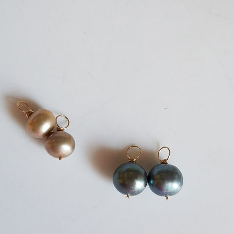 Two tones of pearls for hoop earrings