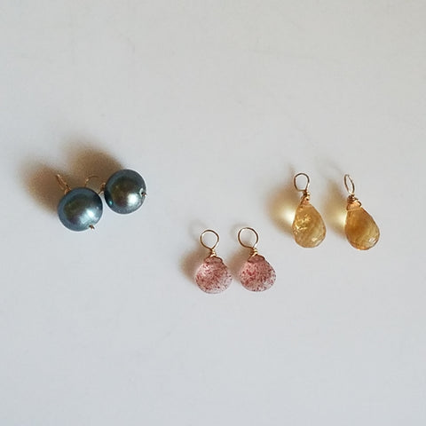 Pink, blue and yellow charms for hoop earrings