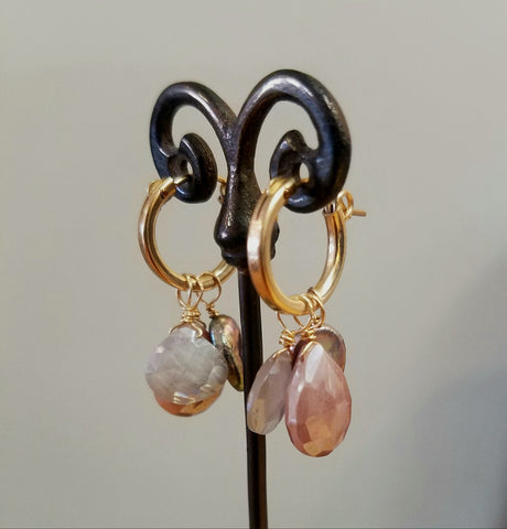 Multi gem Hoops- four earrings in one