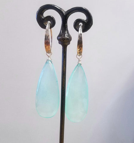 Silver and large Calcedoney earrings