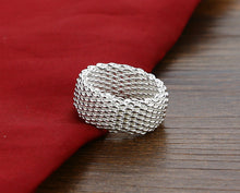 925 Sterling silver braided mesh ring.