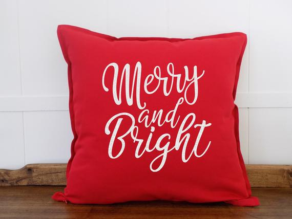 Merry and Bright Christmas Pillow on Etsy