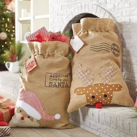 Burlap Santa Sack on Etsy