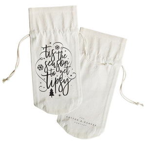 Tis the Season to Get Tipsy Christmas Cotton Canvas Wine Bag