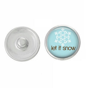 Christmas - Let It Snow - Winter - Snap - Compatible with 18-20mm Snap Jewelry