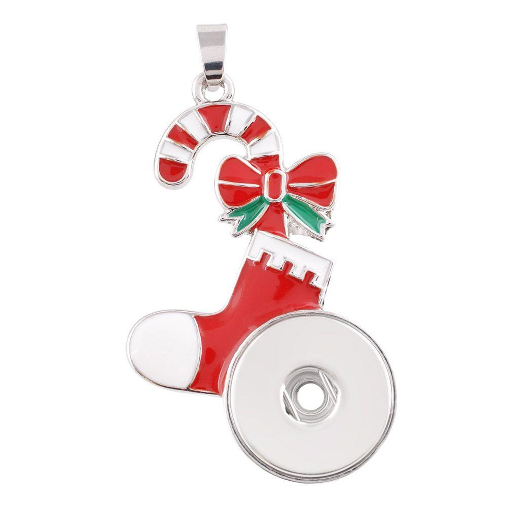 Candy Cane Snap Jewelry Pendant