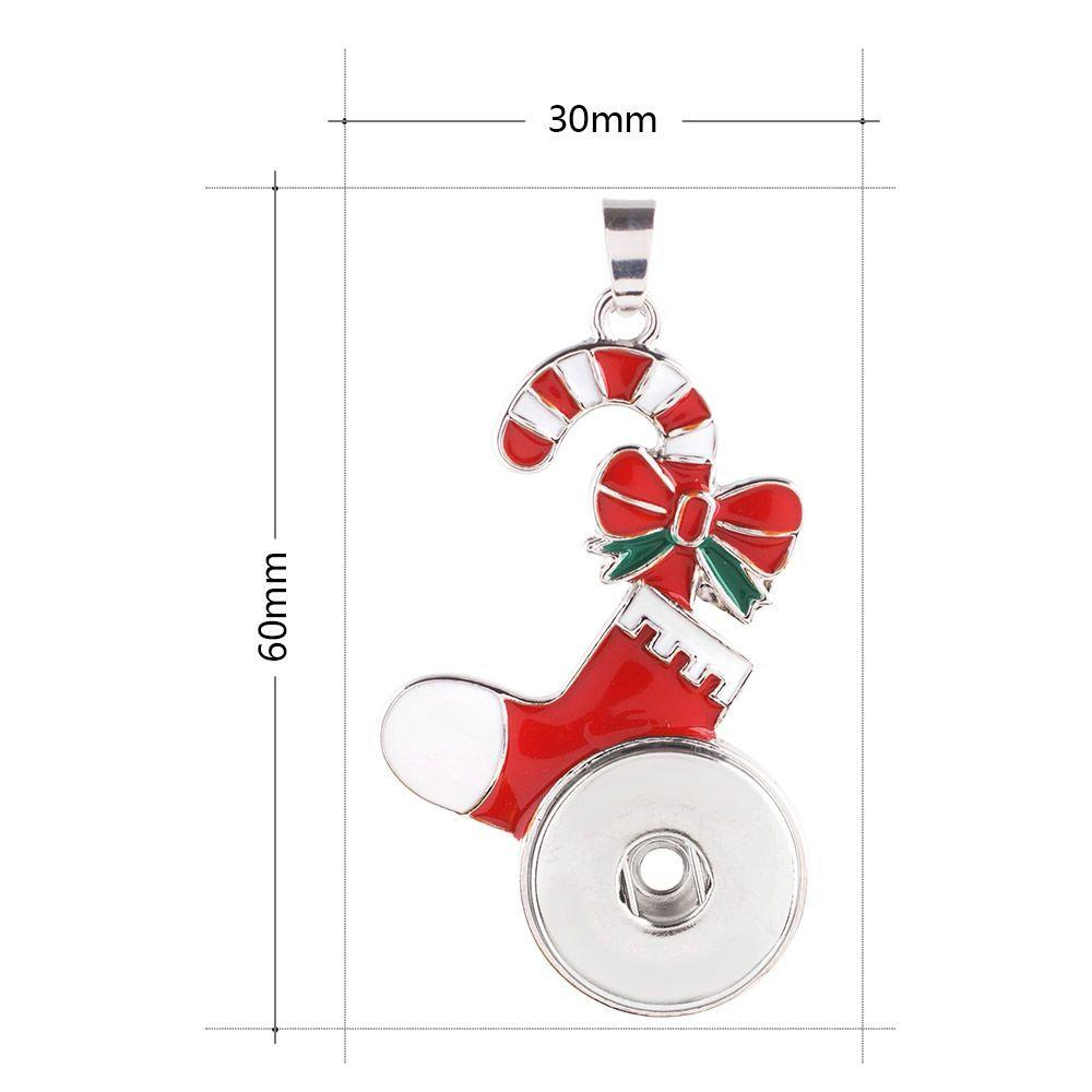 Pendant - Necklace - Snap Jewelry - Candy Cane - Stocking - Christmas - Holiday - Festive Snap Pendant - Compatible with  -18-20mm