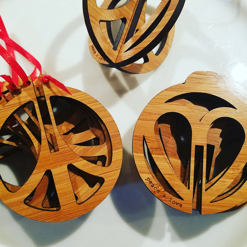 Bamboo Peace & Love Christmas Ornament