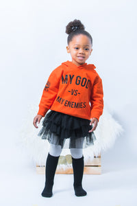 CBG: MODEL IS WEARING THE APRICOT SIDE SEAM HOODED SWEATSHIRT IN SIZE 2/3T *THESE ARE THE RABBIT SKIN 2T