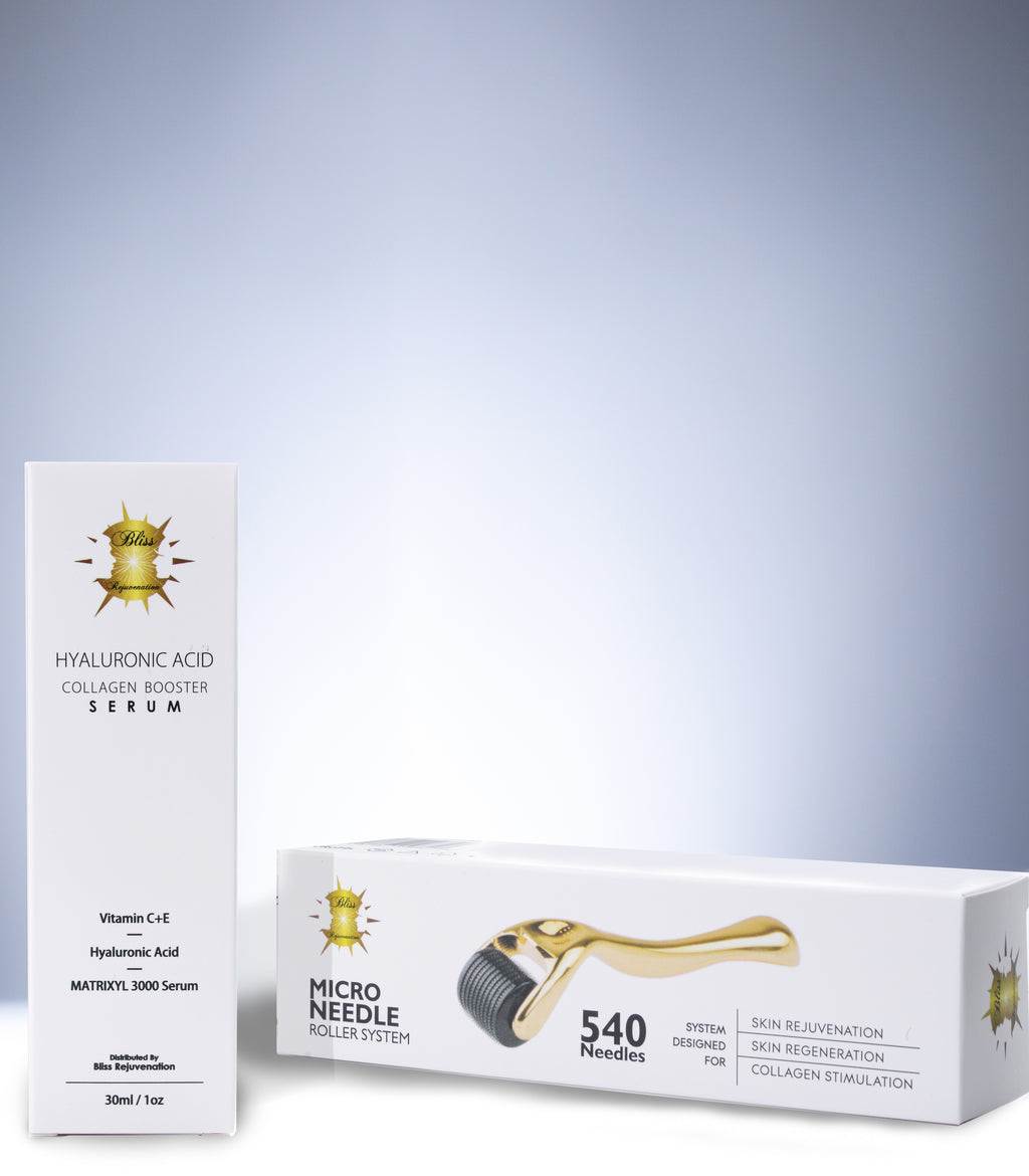 Hyaluronic Acid & MATRIXYL 3000 Serum + 0.5/1.0 mm Micro Needle Derma Roller in Gold