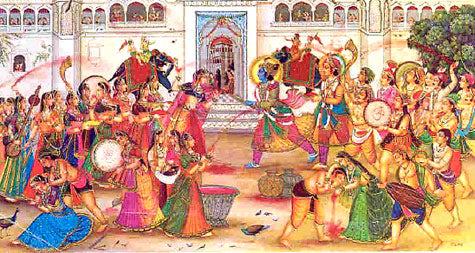 Krishna playing holi with radha art story behind festival of colors Holi