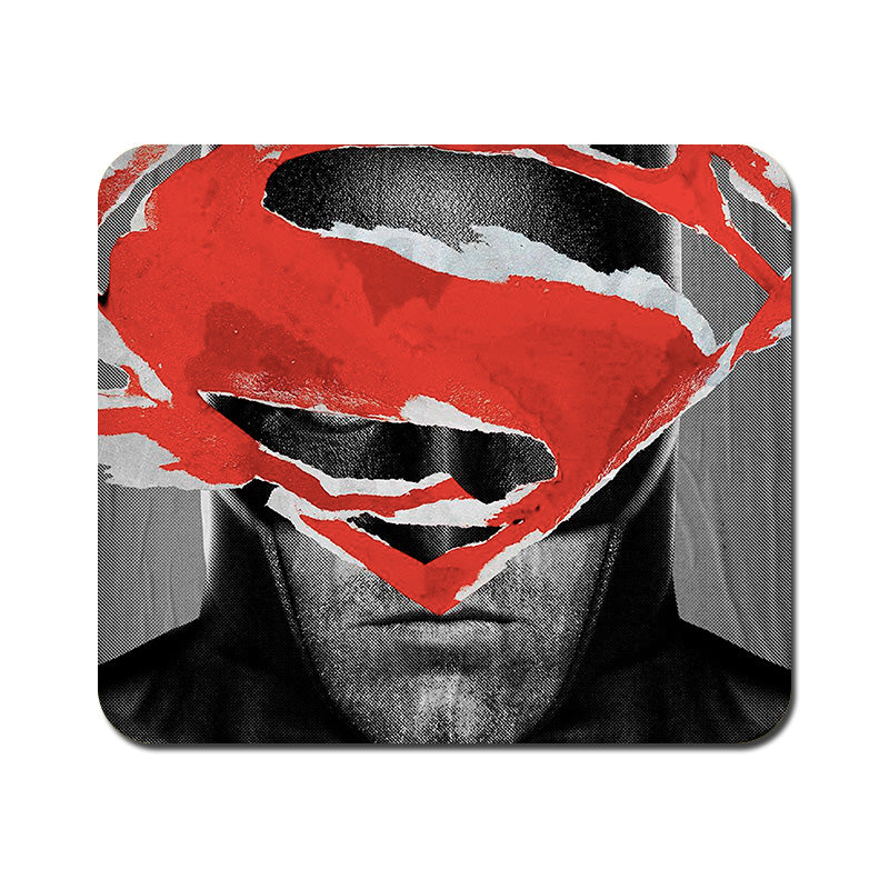 Large Batman With Superman Logo Mousepad