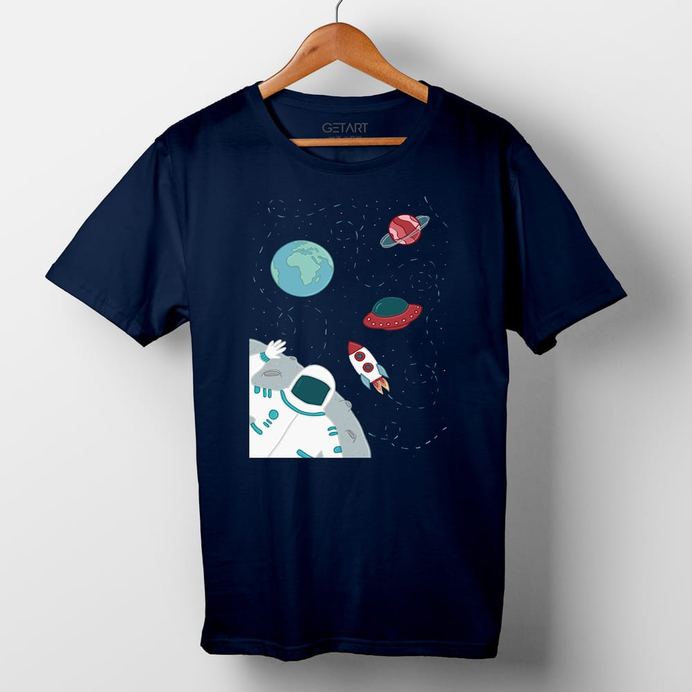 From Far Far Away Space Art Half Sleeve Round Neck Printed T shirt