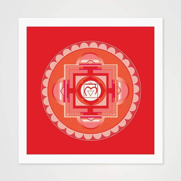 Red Om Mantra Mandala - High Quality Art Pattern For Your Wall-Art Prints-GetArt