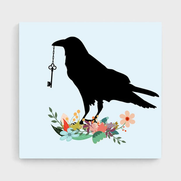The Raven With & The Key - Nature Inspired High Quality Stretched Canvas For Your Wall
