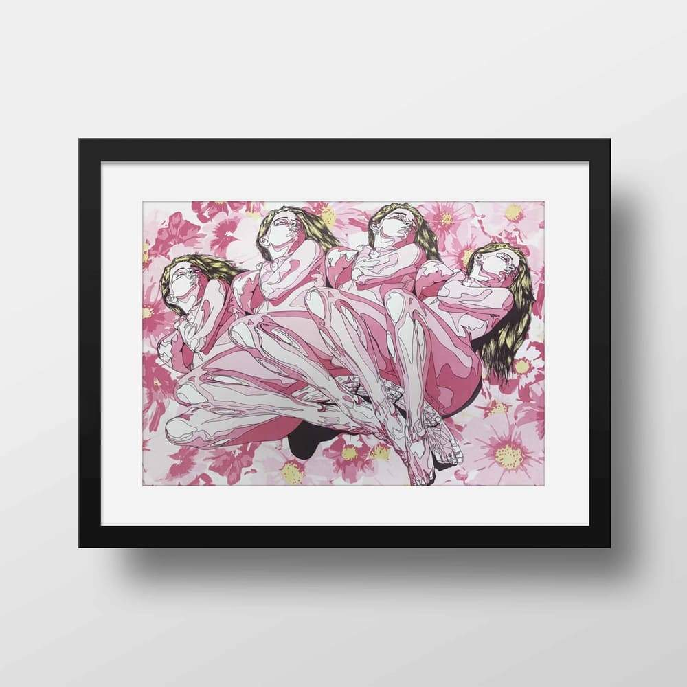 In The Flowers- High Quality Fantasy Framed Mounted Art For Your Wall