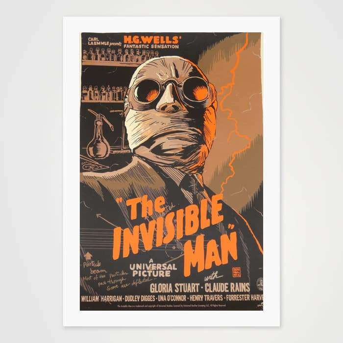 The Invisible Man - High Quality Movie Vintage Poster Art For Your Wall