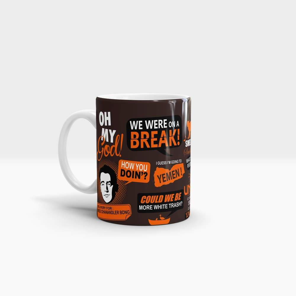 Friends Infographic Orange - High Quality Friends Pop Art Coffee Mug
