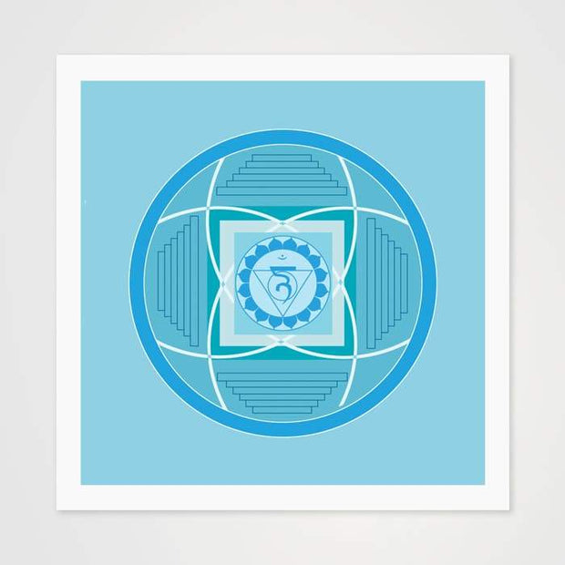 Sky Blue Mantra Mandala - High Quality Art Pattern For Your Wall-Art Prints-GetArt