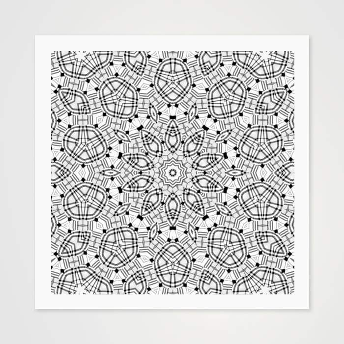 Black & White Kaleidoscope - High Quality Art Pattern For Your Wall-Art Prints-GetArt
