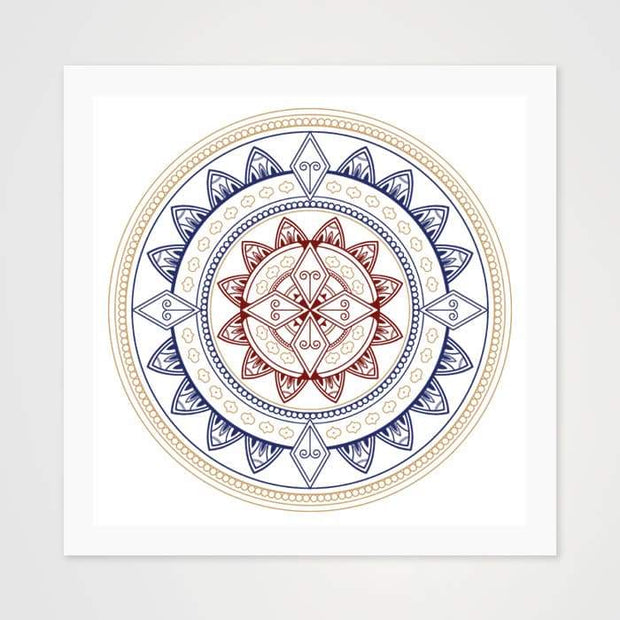Ornamental Mandala Red & Blue - High Quality Art Pattern For Your Wall-Art Prints-GetArt