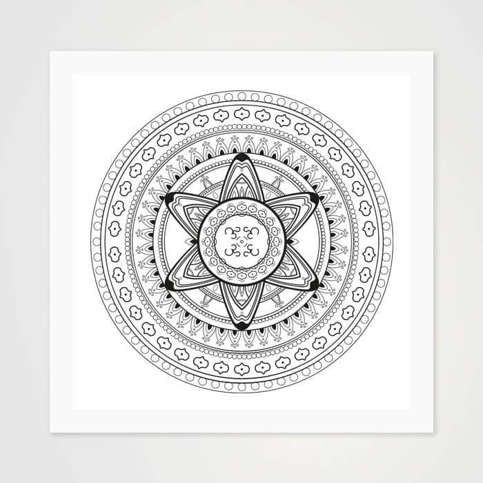 Black & White Om Mandala - High Quality Art Pattern For Your Wall-Art Prints-GetArt