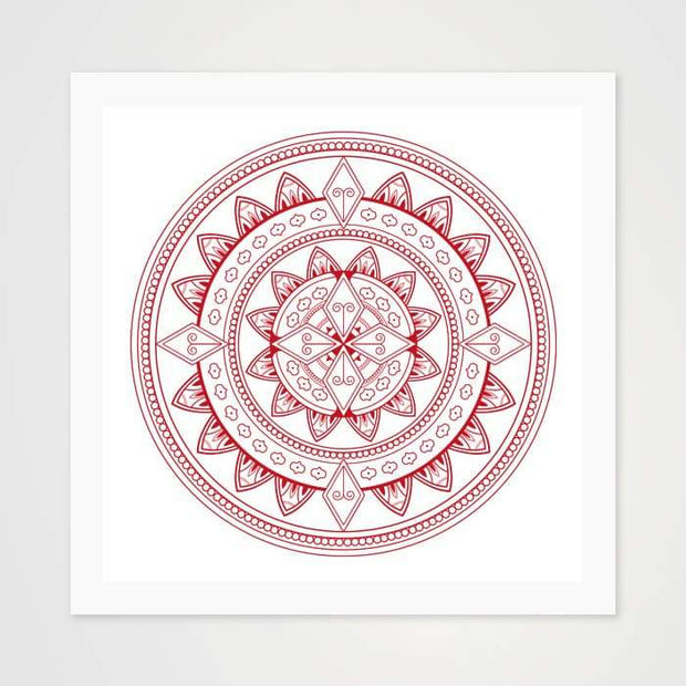 Ornamental Maroon Mandala - High Quality Art Pattern For Your Wall-Art Prints-GetArt