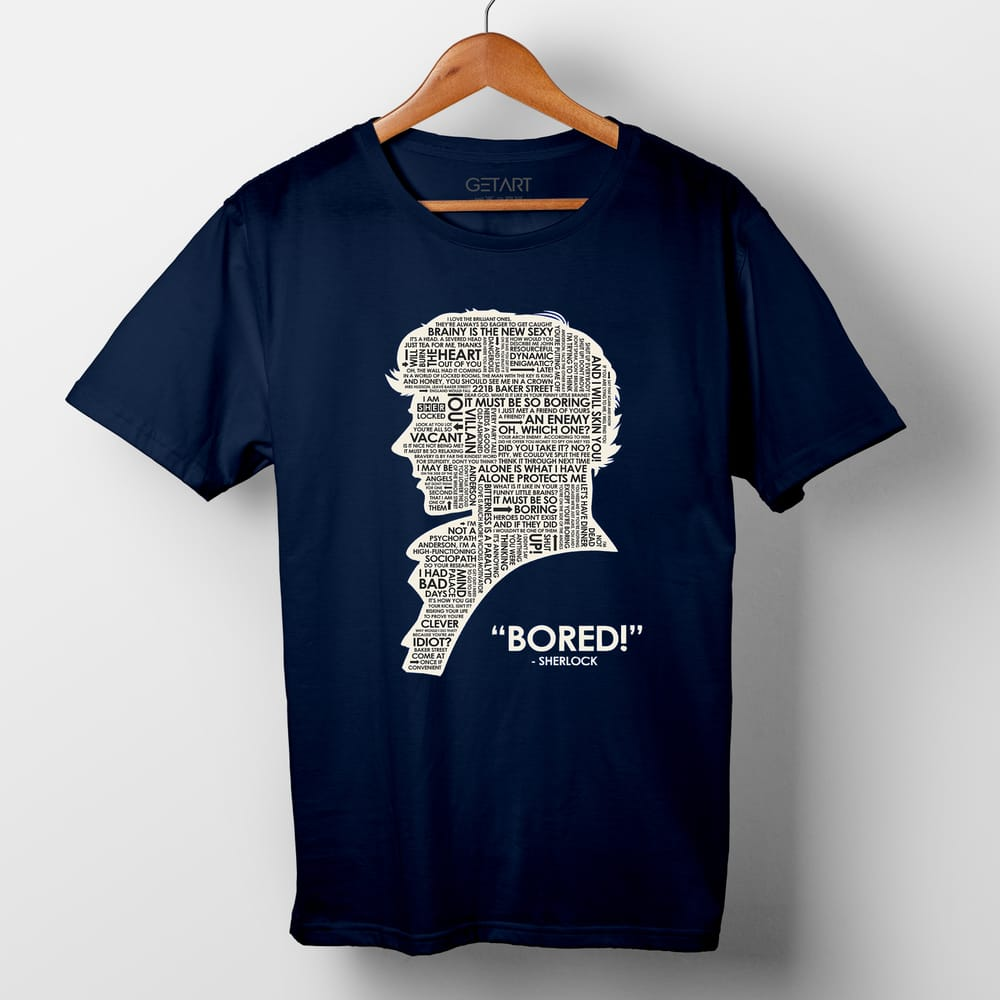 "When Sherlock Is ""Bored"" Half Sleeve Round Neck Printed T shirt"