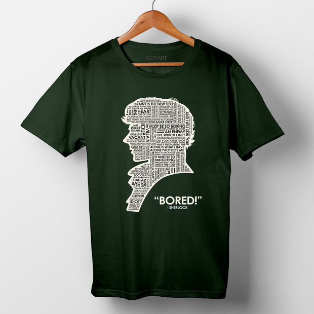 When Sherlock Is Bored Half Sleeve Round Neck Printed T Shirt