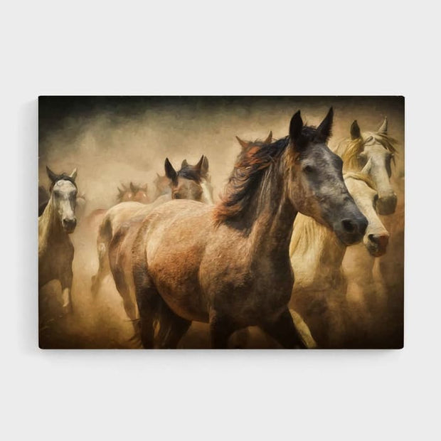 Wild Horses - Nature Inspired High Quality Stretched Canvas For Your Wall