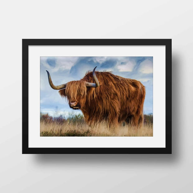 Mr Longhorn - Nature Inspired Framed Mounted Art Print For Your Wall