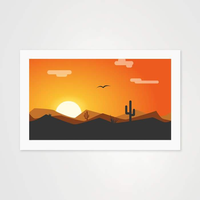 The Orange Sun - Nature Inspired Art Print For Your Wall