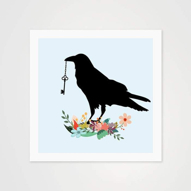 The Raven With & The Key - Nature Inspired Art Print For Your Wall-Art Prints-GetArt
