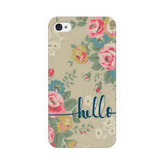 Apple iPhone 4 Flowery Hello Phone Cover & Case