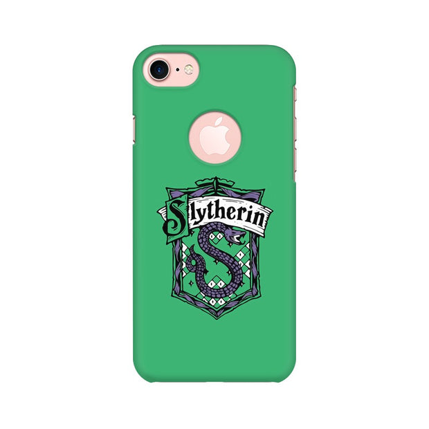 Apple iPhone 7 with Round Cut Slytherin House Crest Harry Potter Phone Cover & Case