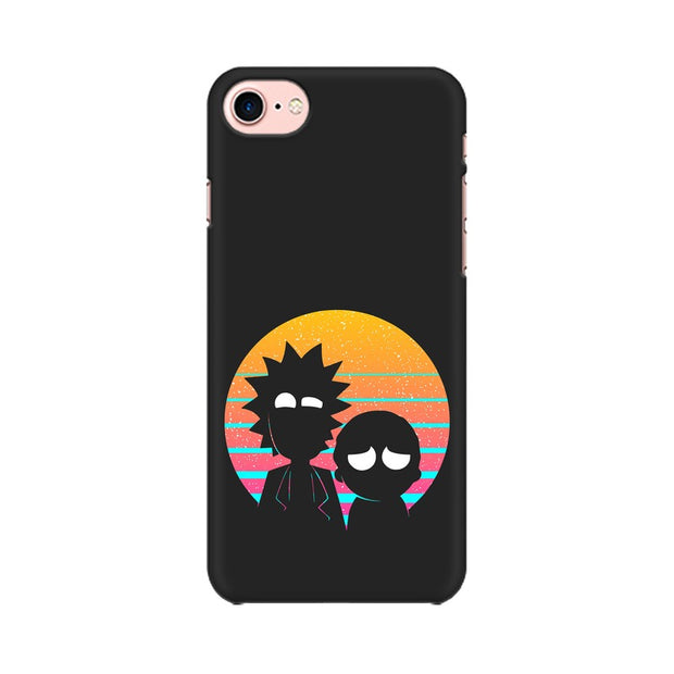 Apple iPhone 8 Rick & Morty Outline Minimal Phone Cover & Case