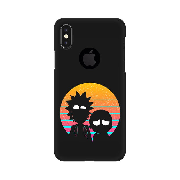 Apple iPhone X With Hole Rick & Morty Outline Minimal Phone Cover & Case