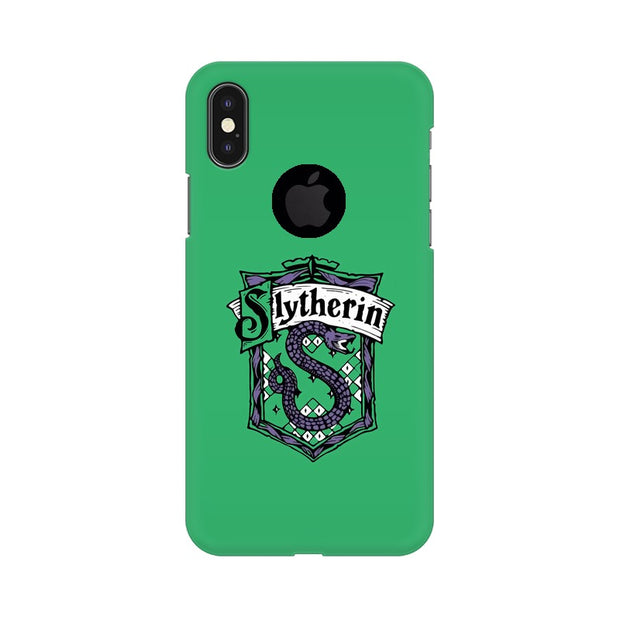 Apple iPhone X With Hole Slytherin House Crest Harry Potter Phone Cover & Case