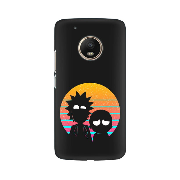 Moto G5 Plus Rick & Morty Outline Minimal Phone Cover & Case