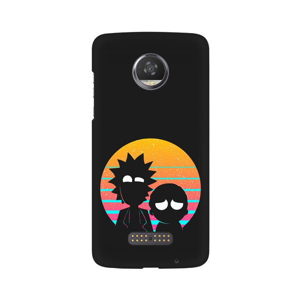Moto Z2 Play Rick & Morty Outline Minimal Phone Cover & Case