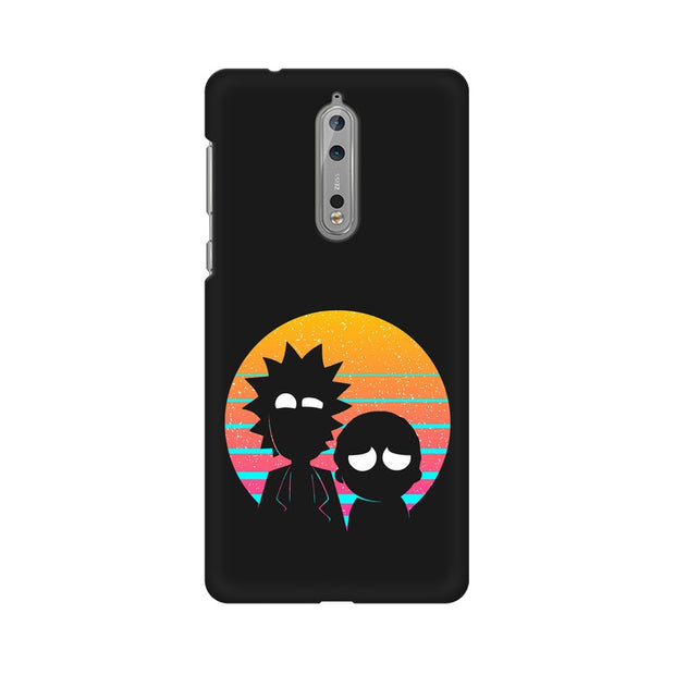 Nokia 8 Rick & Morty Outline Minimal Phone Cover & Case