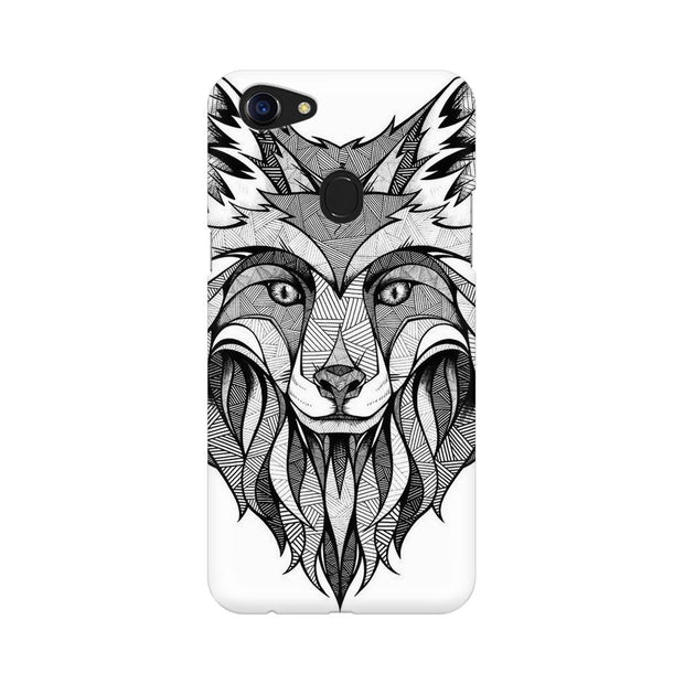 Oppo F5 Line Art Wolf Phone Cover & Case