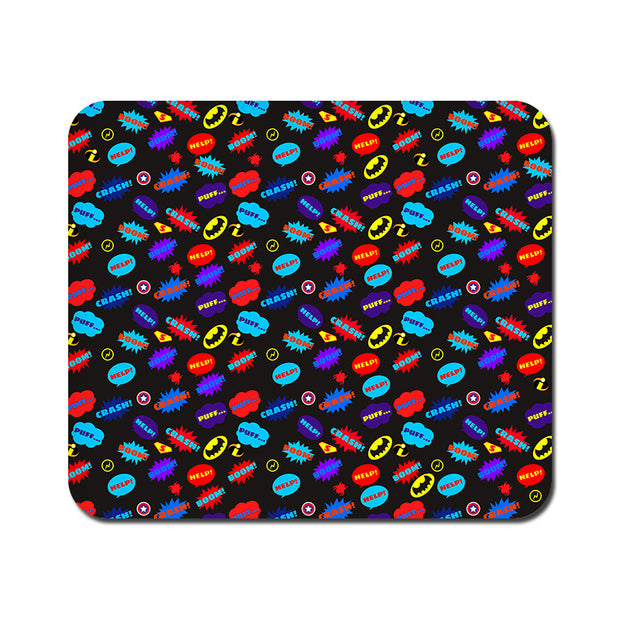 Large All Superheroes on black Clipart Mousepad