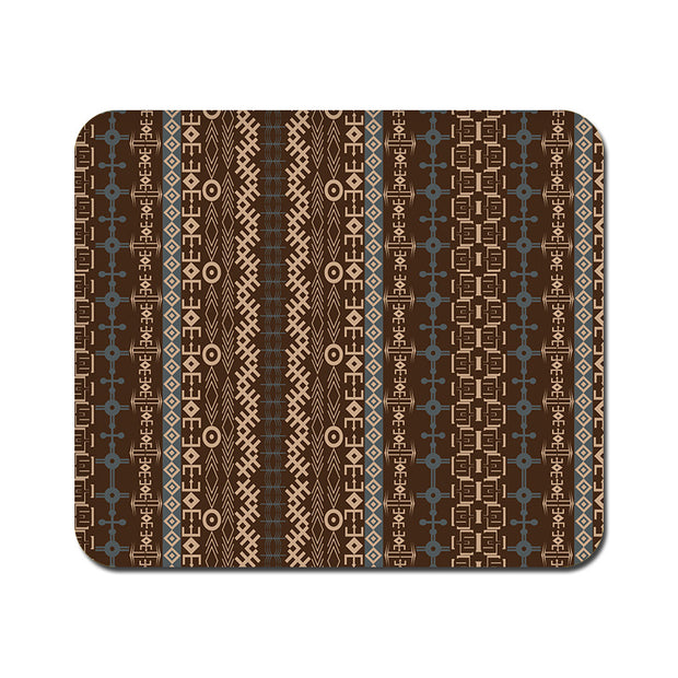 Large Brown Tribal Strips Mousepad