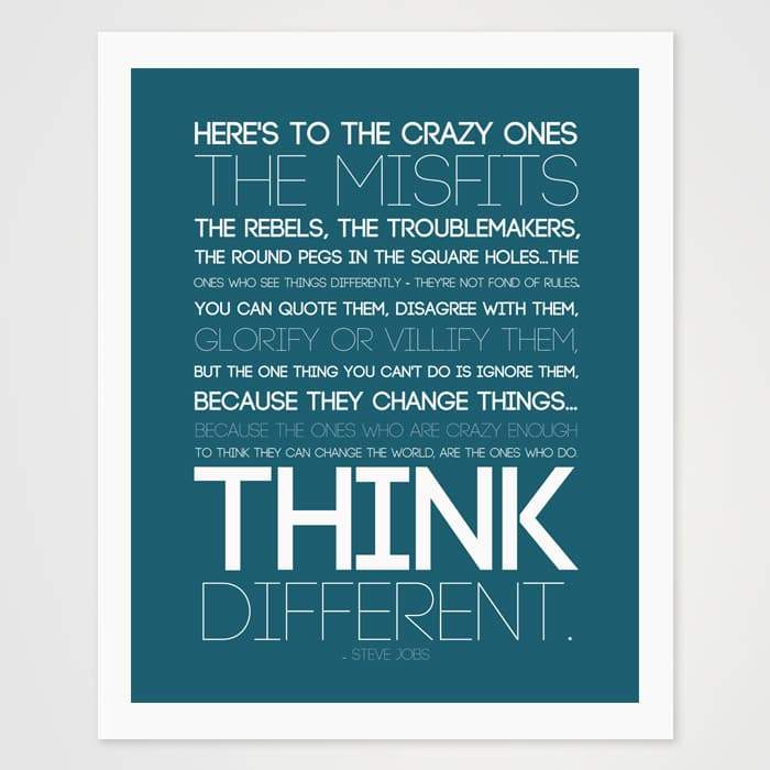 Think Different - Steve Jobs Quote- High Quality Quote Art Print For Wall