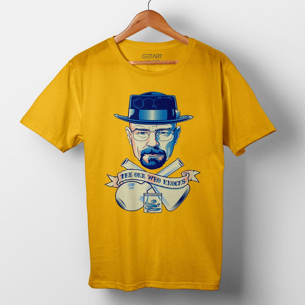 I Am The One Who Knocks Breaking Bad Half Sleeve Round Neck Printed T Shirt